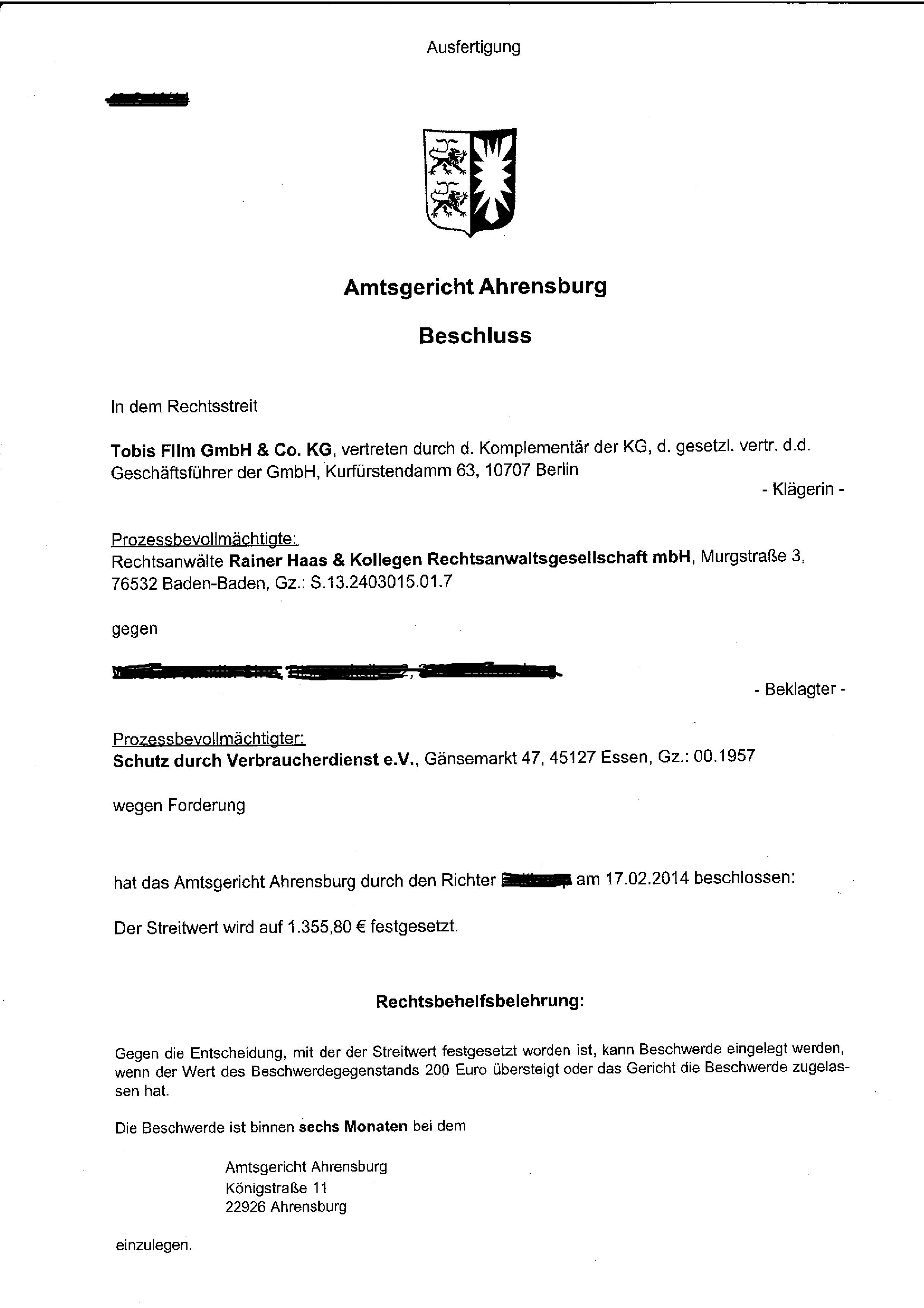 haas kollegen_beschluss - Einspruch Gegen Versaumnisurteil Muster